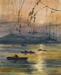 夕阳下晚舟 镜框 设色纸本 by pang xunqin