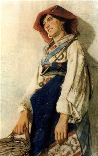 junge italienerin in tracht by augusto daini