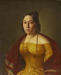 porträtt av dam i gul klänning by johan erik lindh