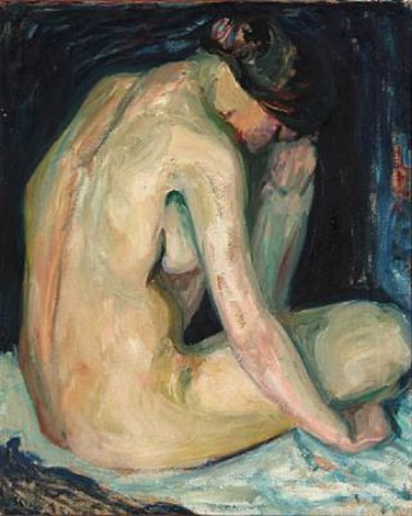 naked woman seated by sigurd swane