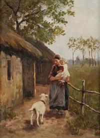 bergère aux chèvres et enfant près de l'étable by jacob simon hendrik kever