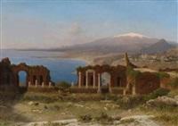 taormina - blick vom antiken theater auf die meeresküste und den ätna by michael haubtmann