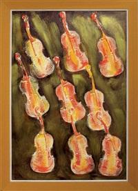 empreintes de violons oranges by arman