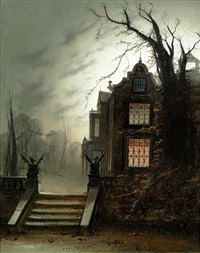 A country house by moonlight