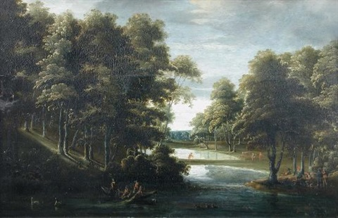 duck shooting on decoy ponds, with sportsmen with nets and guns by paul bril