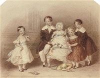 a group portrait of five children by henry bryan ziegler