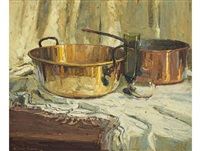 still life with copper, brass and glass by adriaan hendrik boshoff