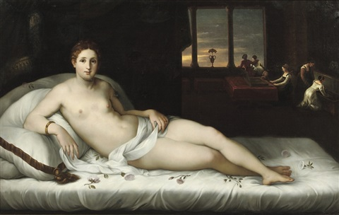 venus reclining in an interior by lambert sustris