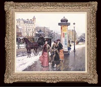 figures in a snowy street, paris by juan puig soler