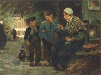 figures at a market by flora macdonald reid