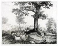 landschaft mit einer schafherde, welche ein junge am baume vorbeitreibt by florian grospietsch