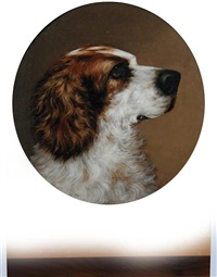 study of a leonberger (+ study of a spaniel; pair) by george earl