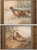 two woodcock nesting beside a tree; pheasants in undergrowth (pair) by william woodhouse