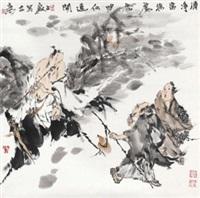 清净 镜心 设色纸本 (figures) by liang zhanyan