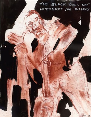 the black does not interupt the killing by leon golub