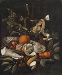 ein stillleben mit früchten auf einer fayenceschale und gefüllten weingläsern by martinus nellius