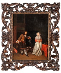 hunter and a woman in house interior by gabriel metsu
