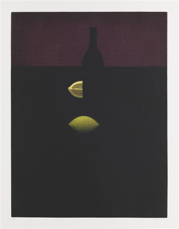 bottle with lemons and red wall by yozo hamaguchi
