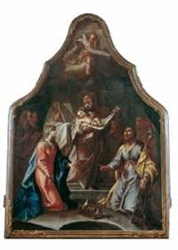 die darbringung jesu im tempel (+ zwei engel mit dem von einem schwert durchbohrten herz mariens, verso) by gottfried bernhard goetz