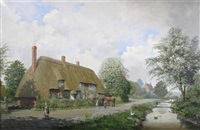 rockbourne, cottages by the river by reginald ernest arnold