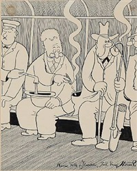 smoking men in the tram by robert storm-petersen