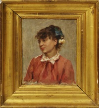 portrait of a girl, quarter-length turned to the left in a pink dress by gonzalo bilbao martínez