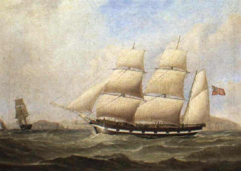 english barque in two positions nearing liverpool by george frederick gregory