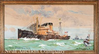 s.s. west kasson leaving le havre by bernard raoul lachevre