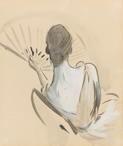 a woman seen from behind holding a fan by paul césar helleu