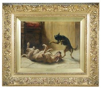 playmates - a manchester terrier by briton riviere
