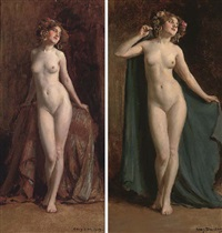 standing female nude (2 works) by allan douglas davidson