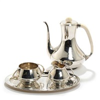 coffee set, comprising a coffee pot, creamer and sugarbowl, coffee pot with bone handle and finial (set of 4) by a. f. rasmussen