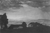 bauernhäuser in einer weiten berglandschaft im abendlicht by hugo noske