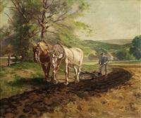 eifellandschaft, bauer mit zwei pferden seinen acker pflügend by antal (august) liptai