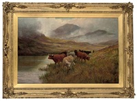 highland cattle grazing beside a loch (+ another; pair) by douglas cameron