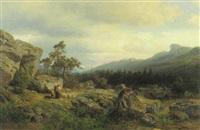 gebirgslandschaft mit einer schäferin, ihrem kind und ihrer herde by wilhelm julius august nabert