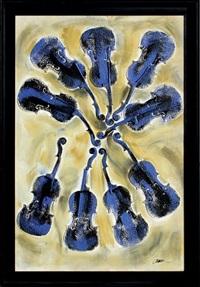 empreintes de violon bleu by arman