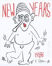 new years 1988 by keith haring