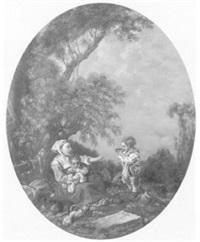 rastende mutter mit ihren kindern am waldrand by j. jackson