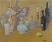 natura morta con bottiglie e vasi by guido peyron