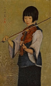 geigendes mädchen by sun shibo