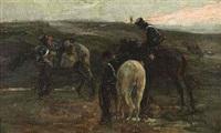 im morgenrot. drei lützower rasten in einer weiten dünenlandschaft by robert von haug