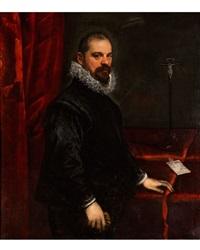 portrait eines mannes mit brief und kruzifix by domenico tintoretto