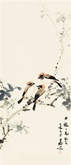 秋雀 立轴 纸本 by deng fen