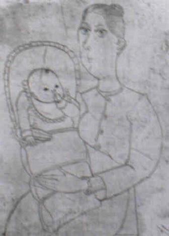 mutter mit kind im steckkissen by johannes driesch