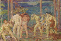 mythologische jagdszene by karel spillar