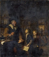 a schoolmaster chastising two boys by christoffel lubieniecki