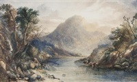a highland landscape with figures by a loch by copley fielding
