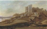 veduta laziale con viandanti e borgo turrito by bernardus le petit