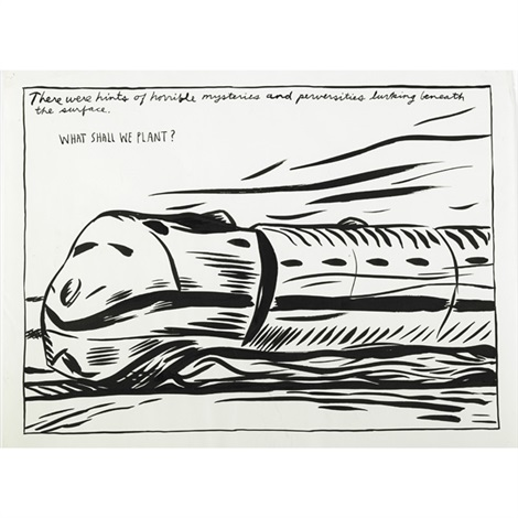 untitled (there were hints of horrible mysteries and perversities lurking beneath the surface. what shall we plant?) by raymond pettibon